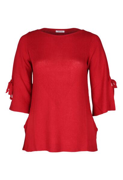 Pullover mit Bindebändern - Rot