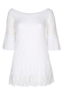 Tunika-T-Shirt aus besticktem Mesh und Krepp, weiß