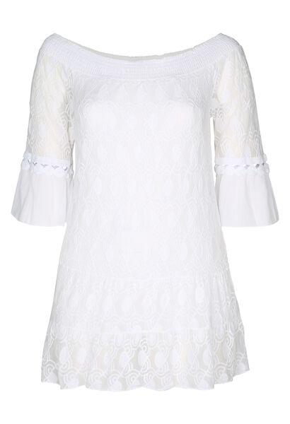 Tunika-T-Shirt aus besticktem Mesh und Krepp - weiß