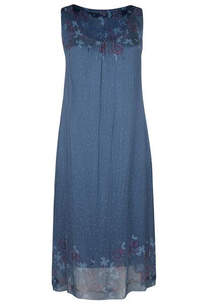 Langes Kleid aus Seide mit Blumen- und Tupfendruck - Indigo