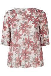 Plissee-Bluse mit Blumenaufdruck