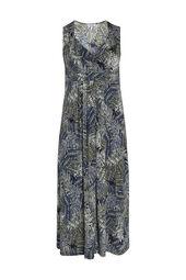 Langes Kleid aus kühlem Material mit Blattmuster-Print