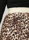 Rock aus plissiertem Voile mit Leoparden-Print, Kamel