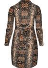 Kleid mit Schlangenhaut-Print, Kamel