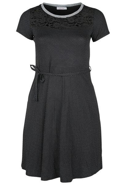 Kleid mit Tupfenaufdruck - Schwarz