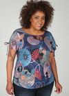 T-Shirt aus Leinen mit geometrischem Druck-Dessin, Multicolor