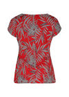 Mit Blättern bedrucktes T-Shirt aus kühlem Material, Rot