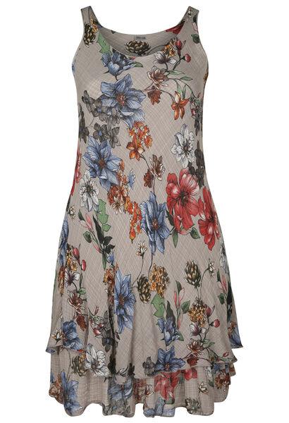 Langes Kleid aus Leinegaze mit Blumen-Print - Multicolor