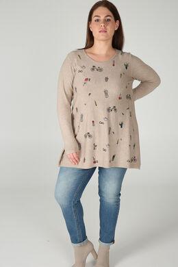 Tunika-Pullover mit Aufdruck, Beige