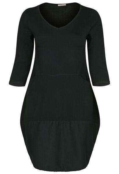 Kleid aus Materialmix mit Balloneffekt im unteren Teil - Schwarz