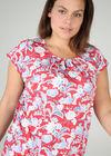 T-Shirt aus kühlem Material mit Blumen und Blättern im Relief-Druck, Orange