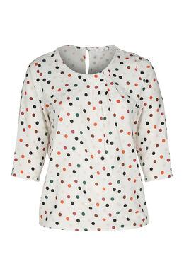 Bluse mit buntem Tupfenaufdruck, naturfarben