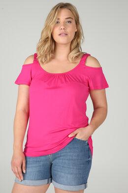 T-Shirt mit elastischen Trägern, Fuchsie