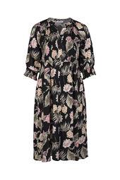 Langes Viskose-Kleid mit Blumen-Print