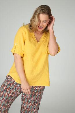 Leinenbluse mit Makramee-Detail am Ausschnitt, Gelb