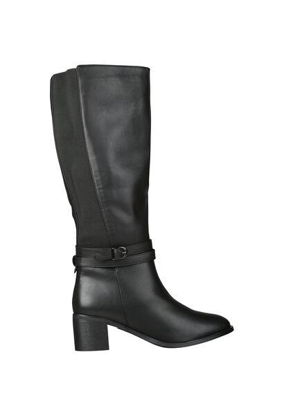 Stiefel mit Absatz für kräftige Waden - Schwarz