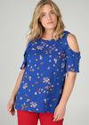 Geblümte Bluse mit freien Schultern, Blau Bic