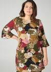 Mit großen Blumen bedrucktes Kleid in entspannter Passform, Khaki