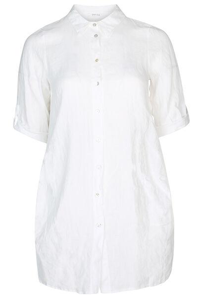 Lange Leinenbluse - weiß