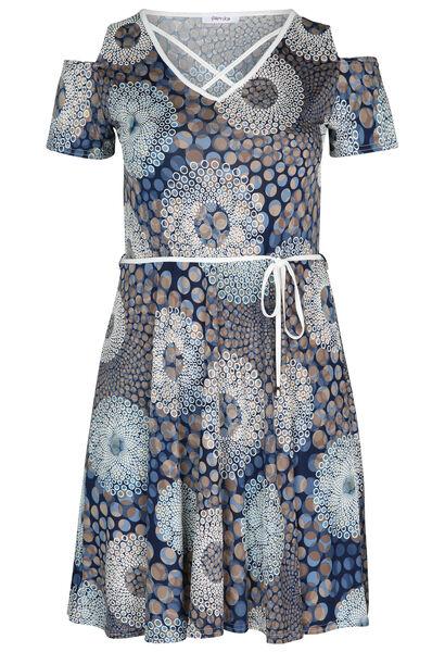 Kleid aus kühlem, bedrucktem Material - Indigo