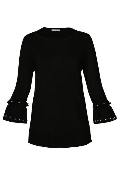 Pullover mit Ärmeln mit Rüschen und Perlen - Schwarz