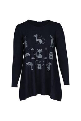 Pullover mit Katzenaufdruck, Marine