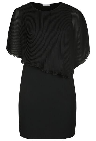 Kleid mit Oberteil aus plissiertem Voile - Schwarz