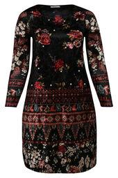 Velours-Kleid mit Blumendruck und Perlen