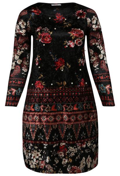 Velours-Kleid mit Blumendruck und Perlen - Schwarz