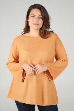 Pullover mit Perlenbesatz am Ärmel, ocker