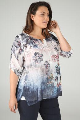 2-in-1-Bluse mit Blumendruck und Strass, Indigo