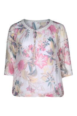 Bedruckte Bluse aus Seiden-Viskose-Mischung, Rosa