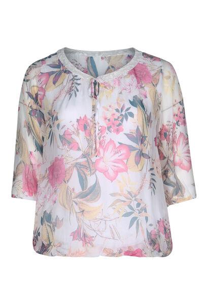 Bedruckte Bluse aus Seiden-Viskose-Mischung - Rosa