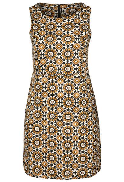 Kleid aus Kreppstoff mit Retro-Blumen-Print - ocker
