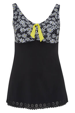 Badekleid mit Spitzen und Gänseblümchenaufdruck, Schwarz