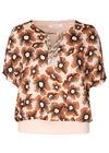 Bluse mit Blumenaufdruck im Retro-Look, Rosa