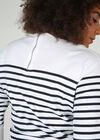 T-Shirt im Matrosenlook mit Stickerei, weiß