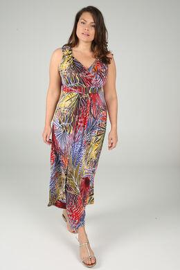 Langes Kleid aus kühlem Material, Multicolor