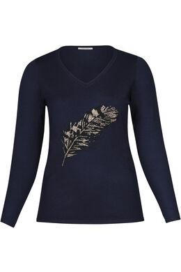 Pullover mit Federn-Print, Marine