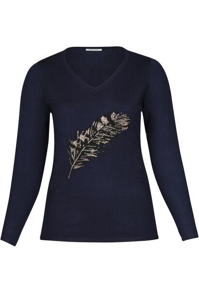 Pullover mit Federn-Print - Marine