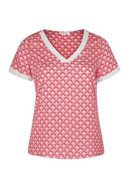 Kurzärmelige Bluse mit geometrischem Druck - Rot
