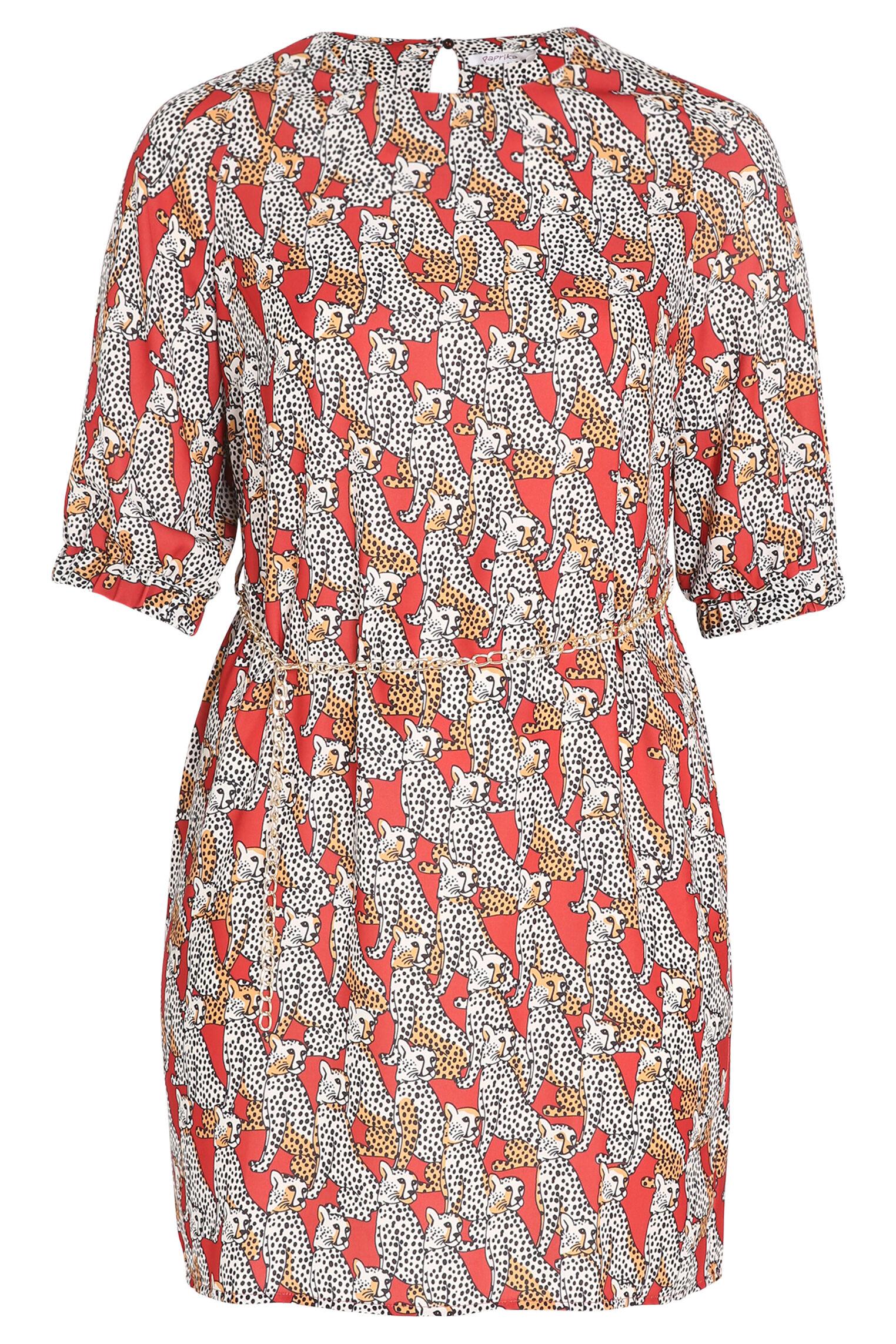 Kleid mit attraktivem Print und Kettengürtel