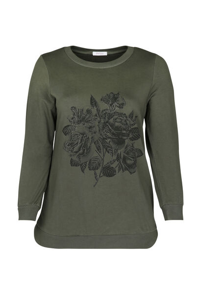 Sweatshirt mit Rosendruck und Strass - Khaki