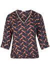 Bluse mit Leoparden-Print und Kettchen am Ausschnitt, Marine