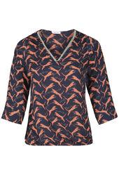 Bluse mit Leoparden-Print und Kettchen am Ausschnitt