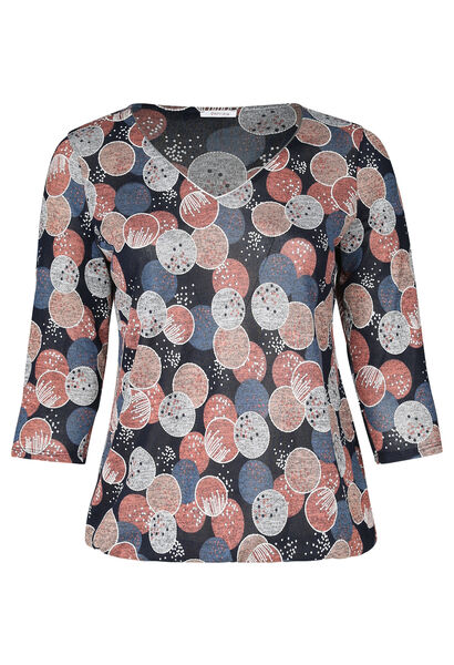 T-Shirt mit Rubberprint-Kreisen - Alte Rosa