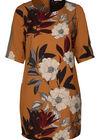 Kleid in entspannter Passform mit Blumen-Print und Sportswear-Streifen, ocker
