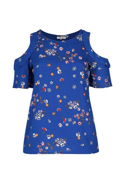 Geblümte Bluse mit freien Schultern - Blau Bic