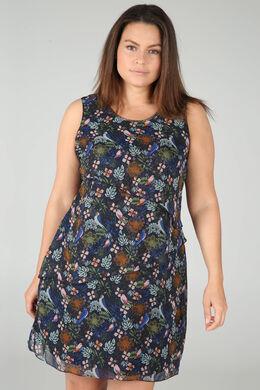 Voile-Kleid, mit Blättern bedruckt, Marine