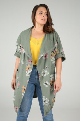 Lange Jacke aus Sweatshirt-Stoff mit Blumen-Print, Khaki